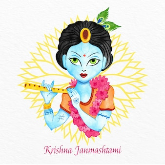 Illustration de krishna janmashtami aquarelle peinte à la main