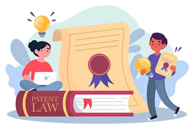 Illustration laïque de brevet de droit d'auteur