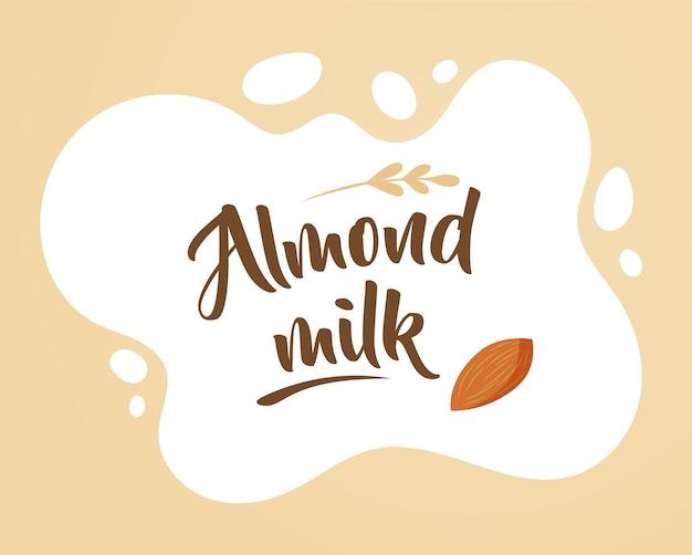 Illustration de lait d'amande, éléments de conception et arrière-plan