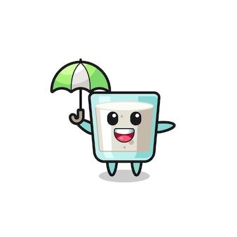 Illustration de lait mignon tenant un parapluie, design de style mignon pour t-shirt, autocollant, élément de logo