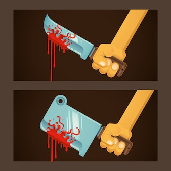 Illustration de lames sanglantes