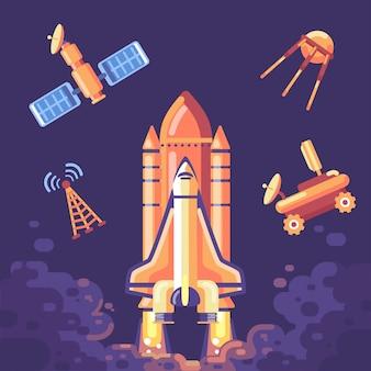 Illustration de lancement de fusée avec jeu d'icônes