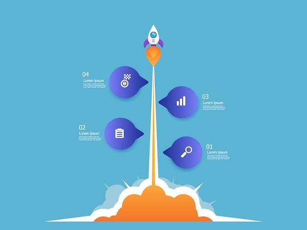 Illustration de lanceur de fusée entreprise démarrage chronologie verticale infographie 4 étapes vectorielles fond