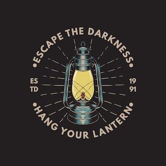 Illustration de la lanterne de camping avec un style dessiné à la main