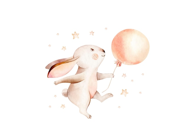 Illustration de lapin aquarelle dessinés à la main d'animaux de lapin de dessin animé de rêve mignon