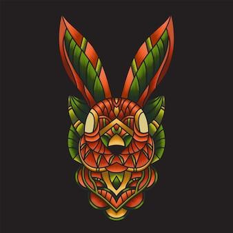 Illustration de lapin doodle ornement coloré