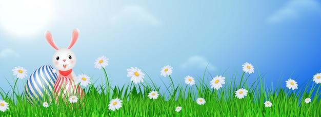 Illustration de lapin à l'oeuf de pâques
