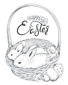 Illustration de lapins dessinés à la main dans le panier avec des oeufs ornés et des fleurs de printemps.