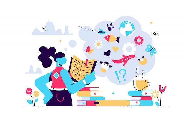 Illustration de lecture. plat minuscule élargir le concept de personne des horizons de connaissances. livre, encyclopédie et autres sources d'information étudient, recherchent ou explorent le mode de vie pour le développement de la sagesse de la personnalité