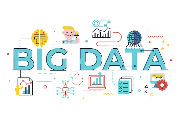 Illustration de lettrage de mot big data