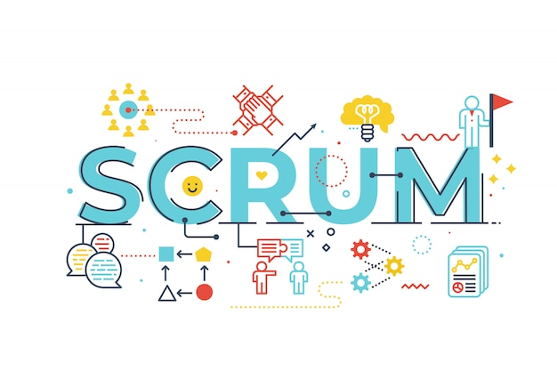 Illustration de lettrage mot scrum