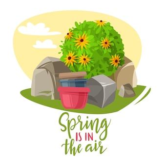 Illustration de lettrage de plantes de jardin de printemps