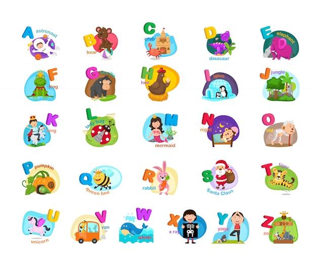 Illustration de la lettre de l'alphabet animal az