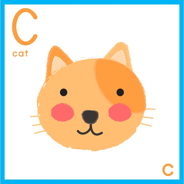 Illustration de la lettre de l'alphabet avec l'image d'un animal