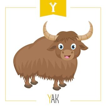 Illustration de la lettre alphabet y et yak