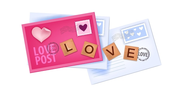 Illustration de lettres d'amour saint valentin avec enveloppes fermées, timbres, lettres en bois isolés sur blanc. papier vacances romantique rose vue de dessus messages, mails. conception d'enveloppes saint valentin