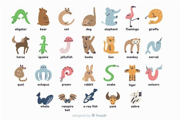 Illustration de lettres animaux mignons