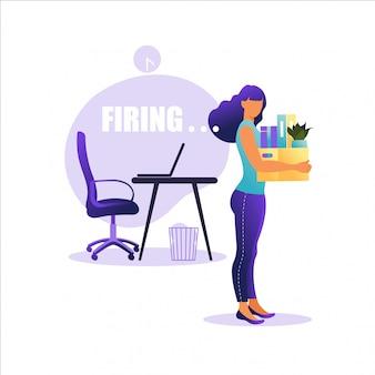 Illustration de licenciement d'un employé. femme, debout, bureaux, boîte, choses concept de chômage, crise, réduction de l'emploi et des emplois. perte d'emploi.