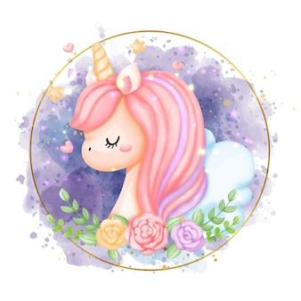 Illustration de licorne aquarelle