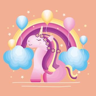 Illustration de licorne et arc-en-ciel