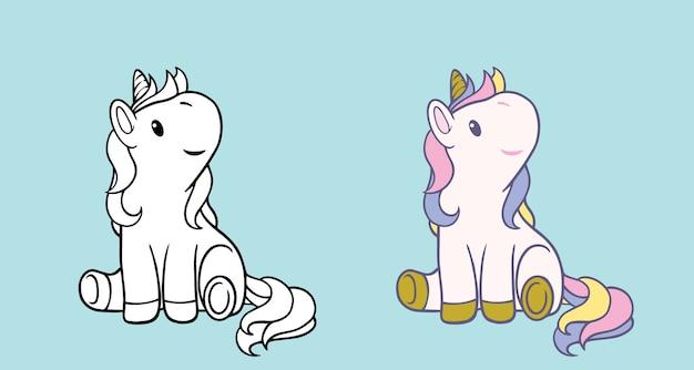 Illustration de licorne blanche pour enfants isolés.