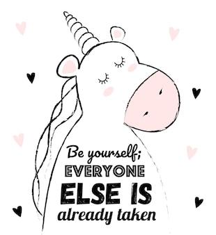 Illustration de licorne de croquis de dessin animé de vecteur avec la phrase de lettrage de motivation