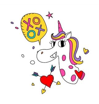 Illustration d'une licorne magique avec une crinière colorée.