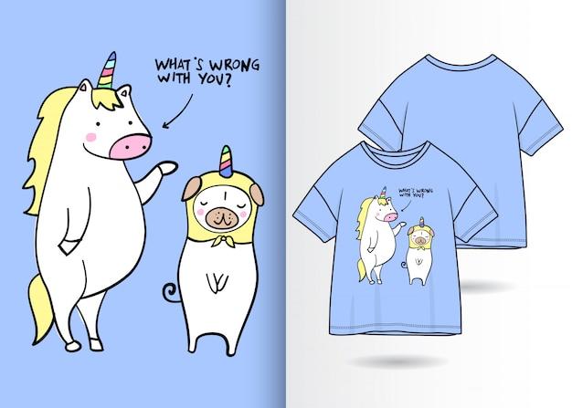 Illustration de licorne mignonne dessinée à la main avec la conception de t-shirt