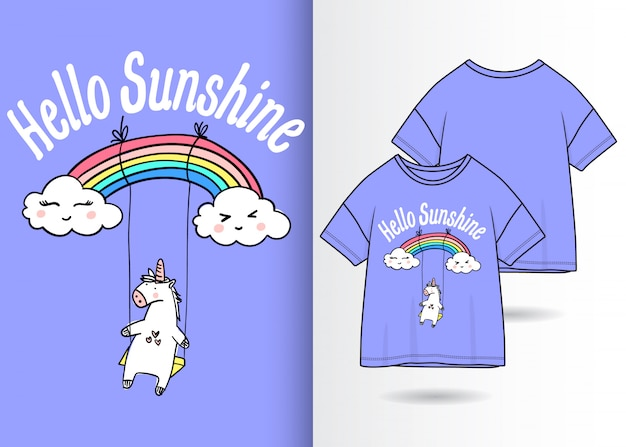 Illustration de licorne mignonne dessinée à la main avec la conception de t-shirt