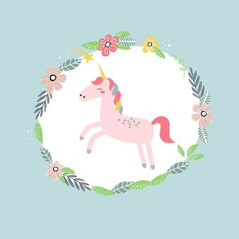 Illustration avec une licorne mignonne