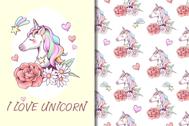 Illustration de licorne et modèle sans couture