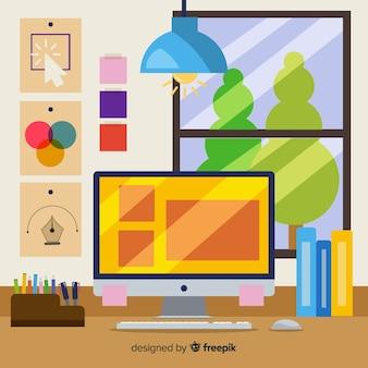Illustration de lieu de travail de graphiste