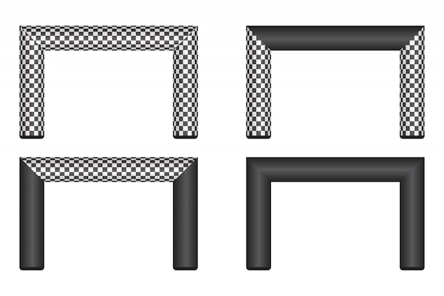 Illustration de ligne d'arrivée gonflable isolé sur blanc