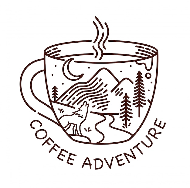 Illustration de ligne aventure café