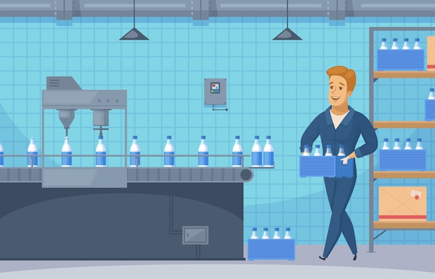 Illustration de ligne de convoyeur de lait