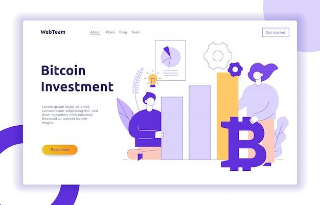 Illustration de ligne plate moderne vecteur bitcoin investissement