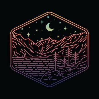 Illustration de la ligne de randonnée en montagne