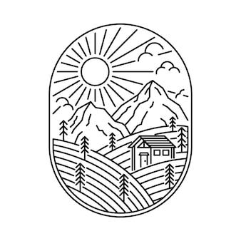 Illustration de ligne sauvage maison nature montagne