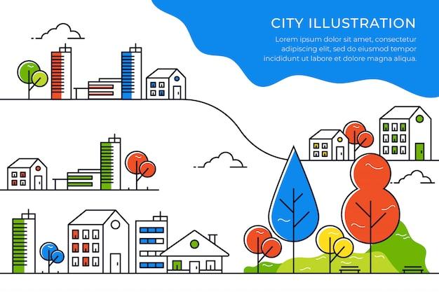 Illustration de ligne de ville