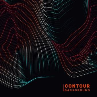 Illustration de lignes de contour abstraites colorées