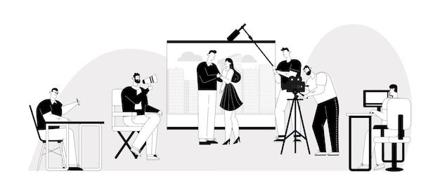 Illustration linéaire de caractère de la scène de création de film
