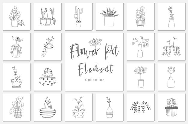 Illustration de linéaire d'élément de pot de fleur de collection