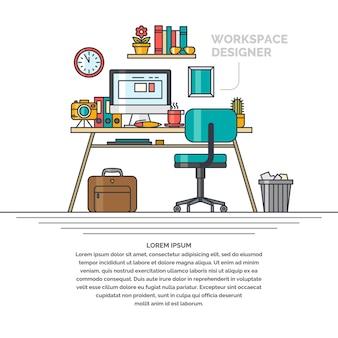 Illustration linéaire de l'espace de travail pour le concepteur. lieu de travail et sujets du bureau d'affaires.