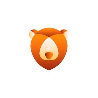 Illustration linéaire de la tête d'un ours