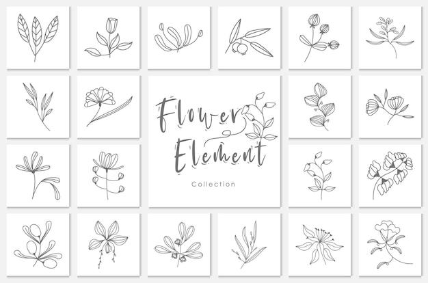 Illustration de lineart d'élément de fleur de collection