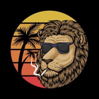 Illustration de lion coucher de soleil rétro