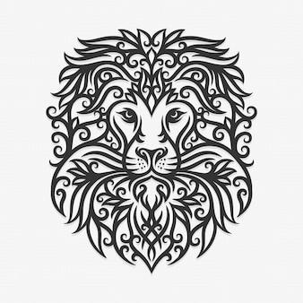 Illustration de lion ornement de bornéo kalimantan dayak