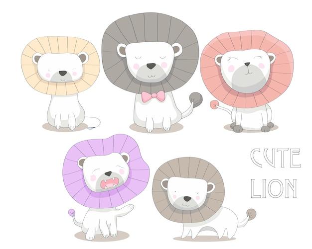 Illustration de lions mignon