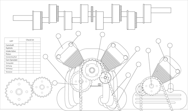Illustration de la liste de contrôle de la machine