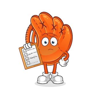 Illustration de la liste des horaires des gants de baseball